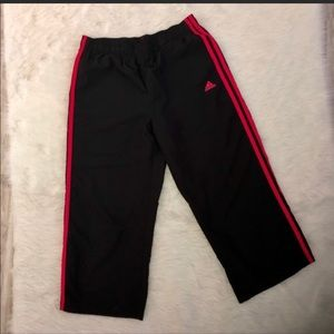 Adidas black and pink cropped pants